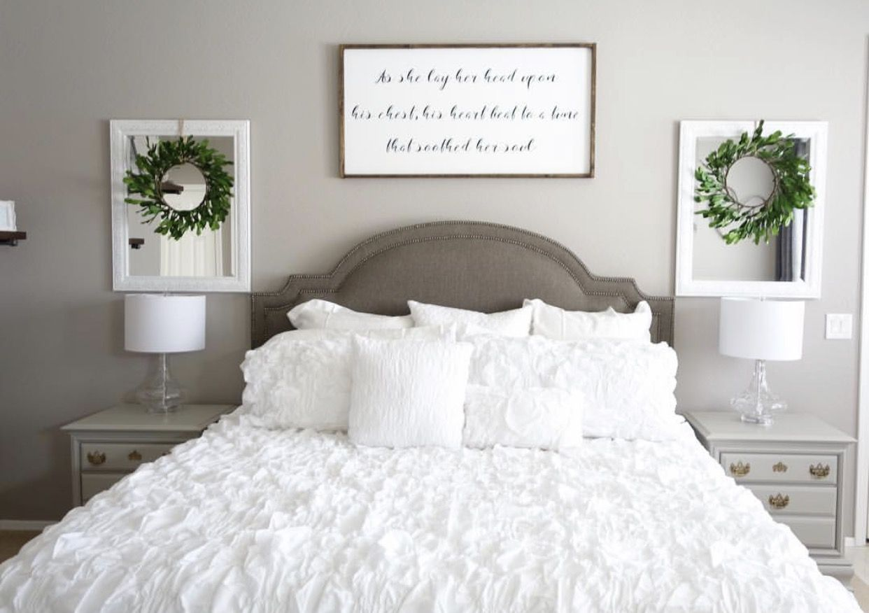 Love the sign above the bed for our wedding song lyrics - Wall hangings for bedroom ...