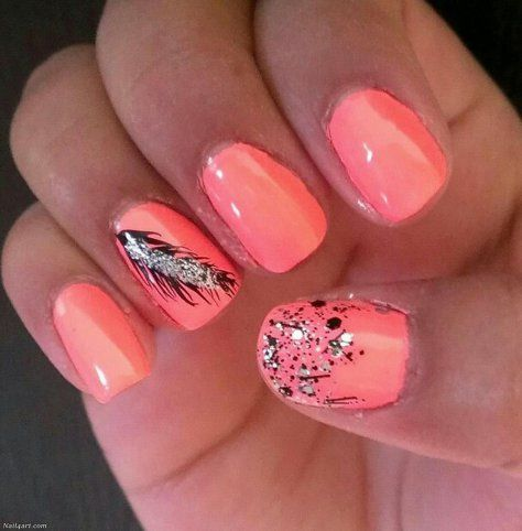100 easy feather nail designs  feather nails feather