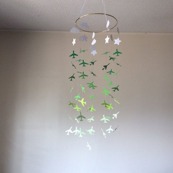Airplane Clouds Stars hanging paper mobile Baby by KraftynKatchy