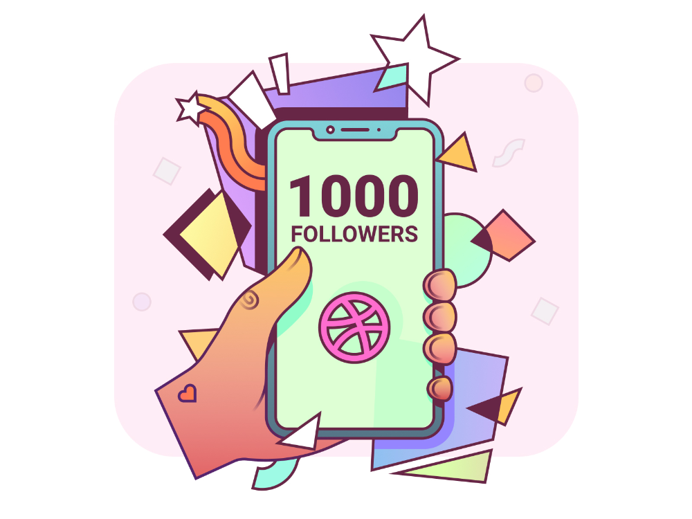1000 Followers by Bogdan Olimpiyuk for unfold on Dribbble