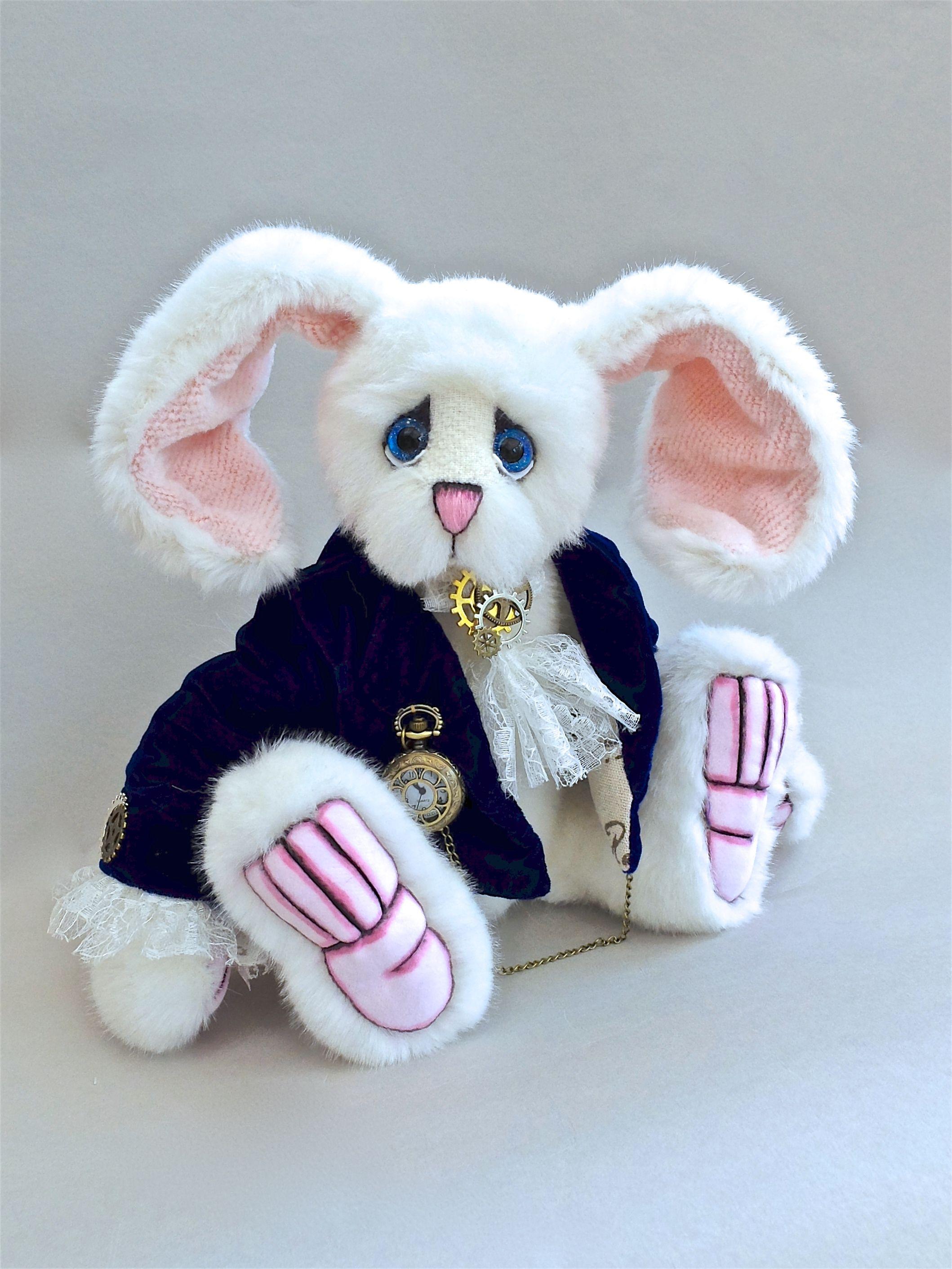 Time Watching White Rabbit Hand Sewn Artist Bear