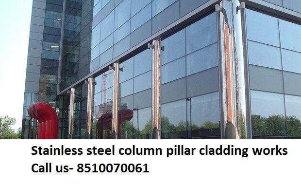 Stainless steel column pillar escalators cladding in Dubai