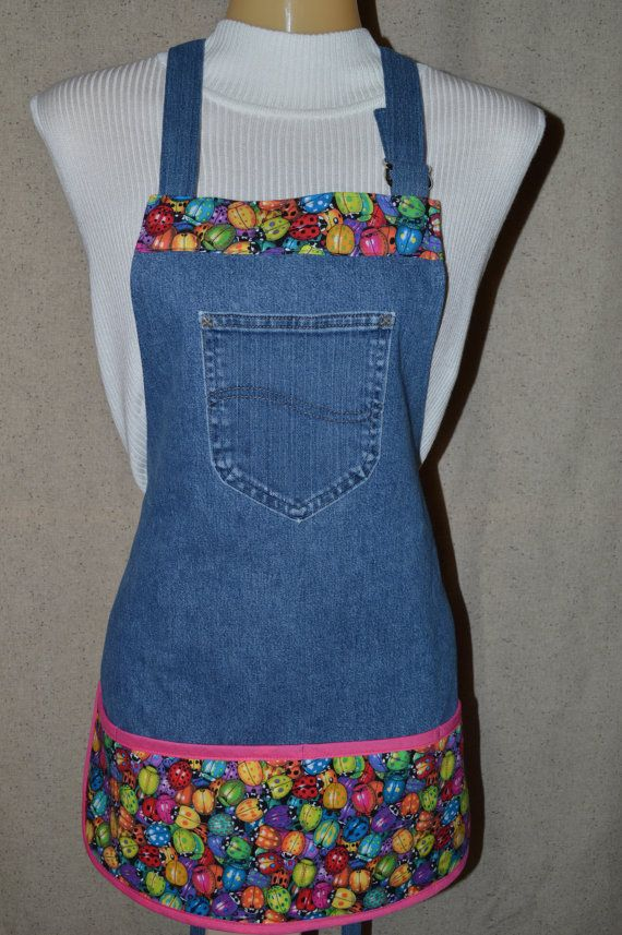 Garden Utility Apron made from Upcycled Denim Jeans and Beetle Print Pockets