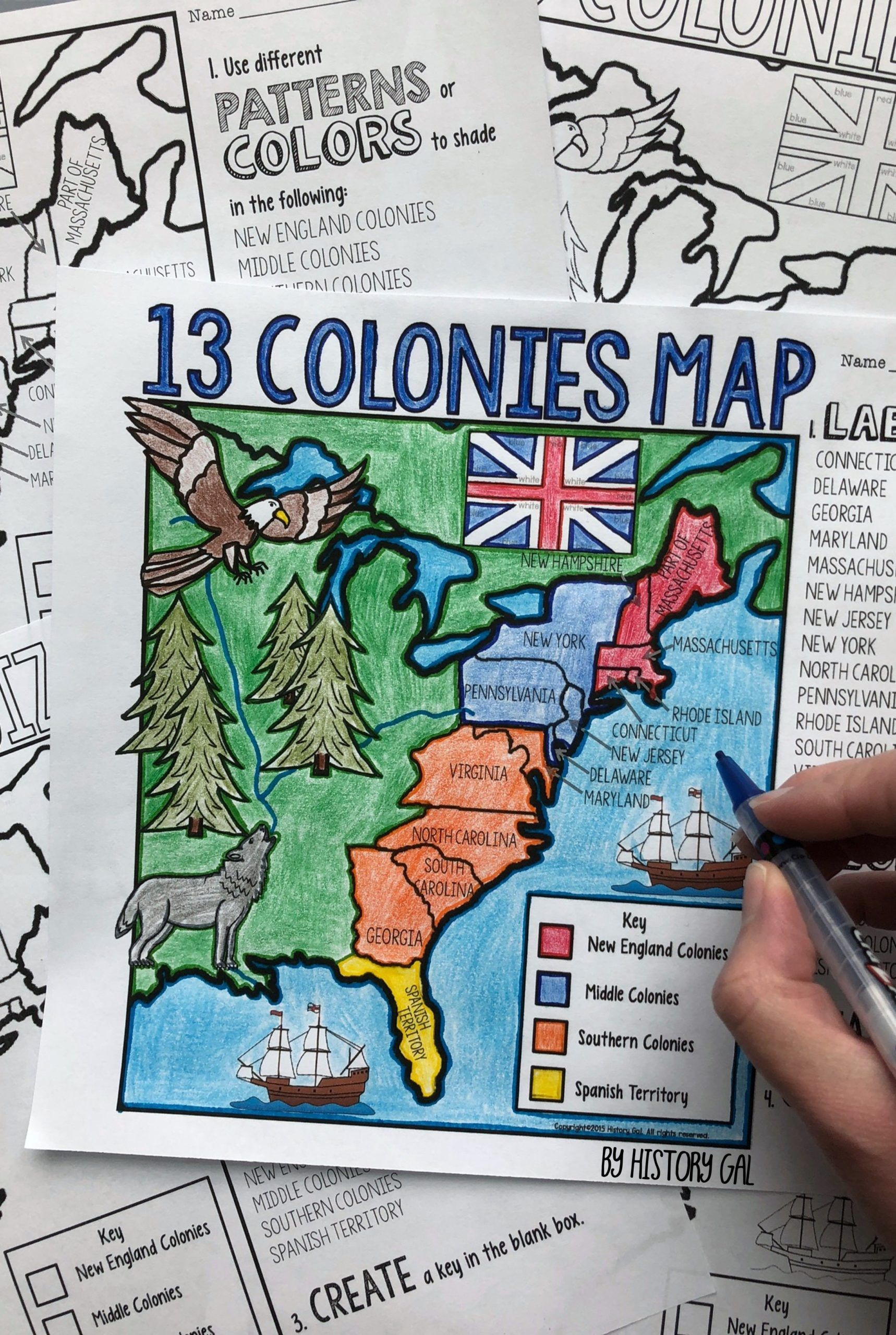 13 Colonies Map And Quiz In
