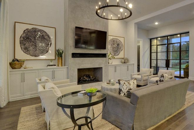 Concrete Fireplace Living Room With Concrete Fireplace And Sloped