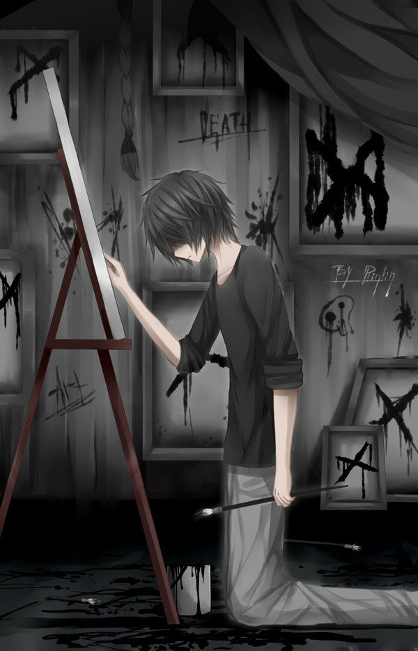 """(Open RP) (I'm the guy in the pic) I kneel down in front of my canvas again, locked in this prison with its gray walls and boring furniture. They call me """"psycho"""", and I think they're right. I can't stop smiling. Even when they torture me.... My mind is running on madness. In only a moment I lose it again and paint all over the walls, Death, it says. The voices in my head are running ramped when someone walks in the metal door. (Credit to @TheRightfulKing )"""