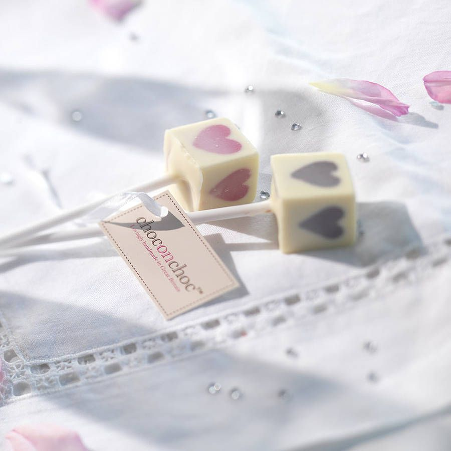 Pink Heart Lolly Chocolate Wedding Favours, Set Of 20 | Chocolate ...