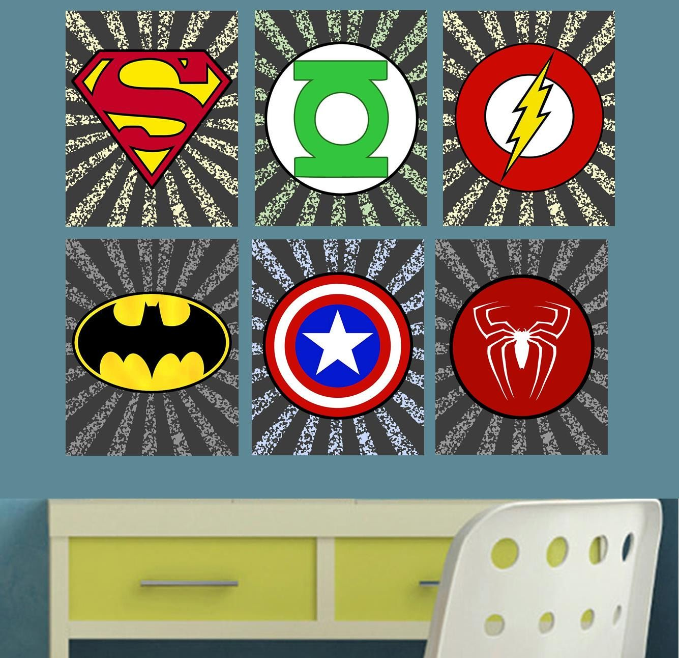Superhero Logo Boy's Room Wall Art Decor by OurSecretPlace ...