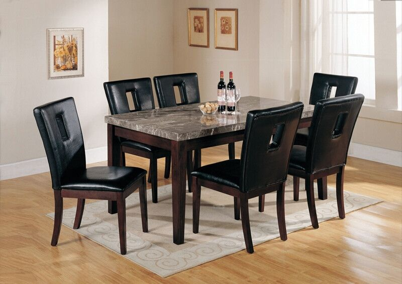 Acme 07058 16774 7 Pc Danville Black Marble Top Dining Table Set
