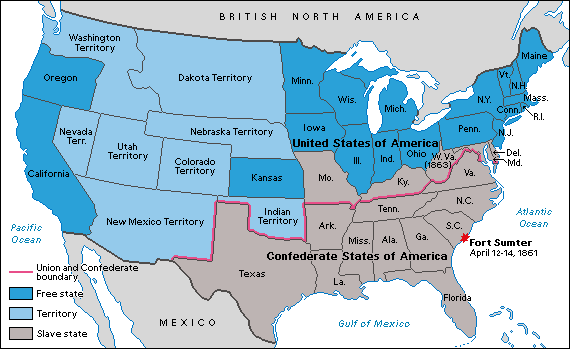 The Alignment Of The States During The Civil War With Missouri - Fort sumter on us map