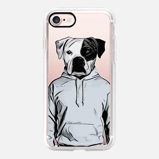 Cool Dog - Transparent - Classic Grip Case #dog #bulldog #boxer #human #illustration #hoody #hoodie #iphone #case #transparent