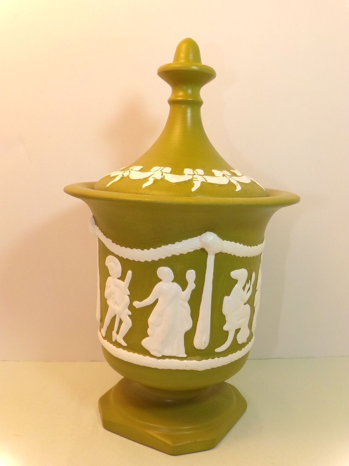 Vintage Flossie Green And White Roman Design Ceramic Lidded Candy