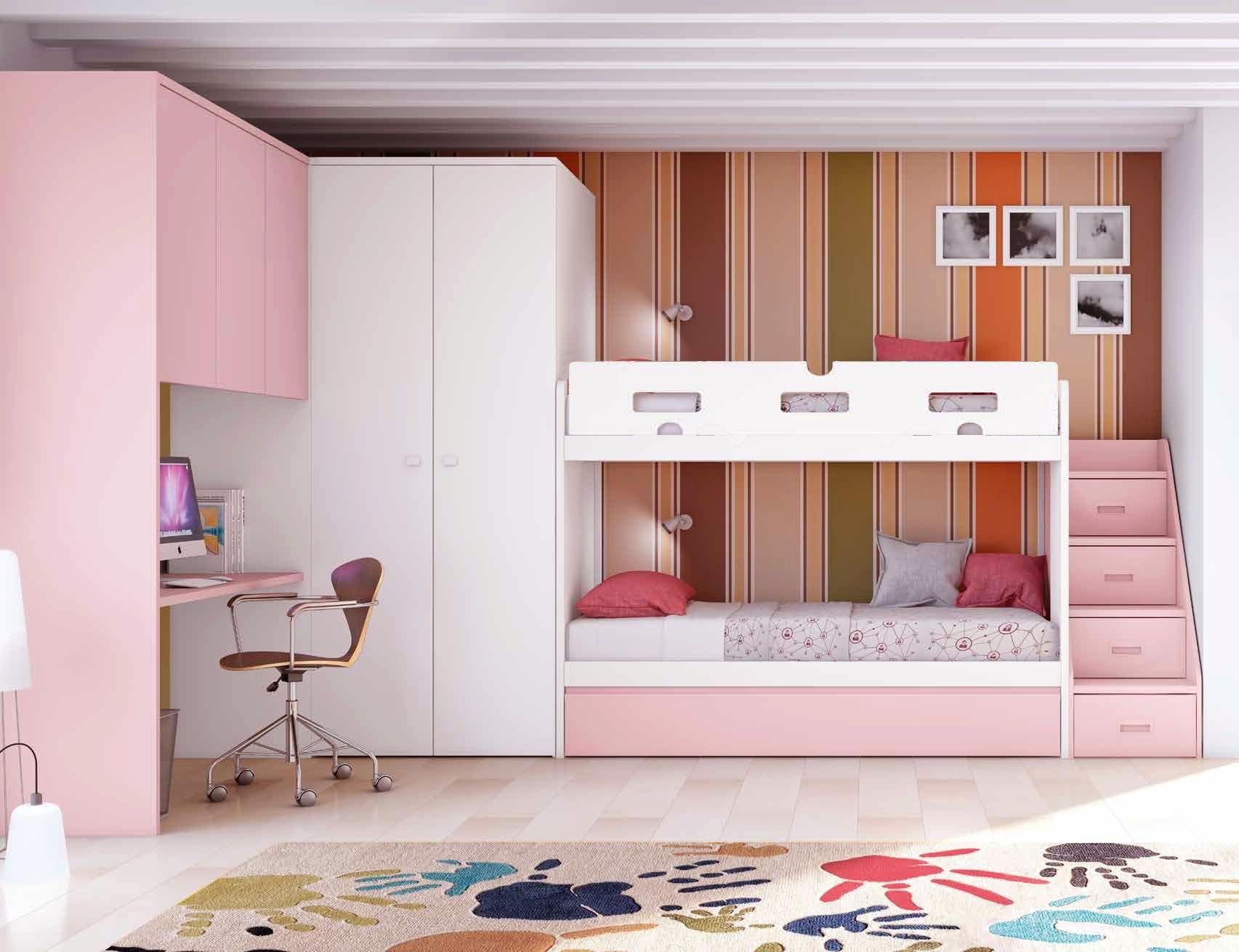 Chambre avec lit superpos fille et lit gigogne - Lit superpose avec lit gigogne ...