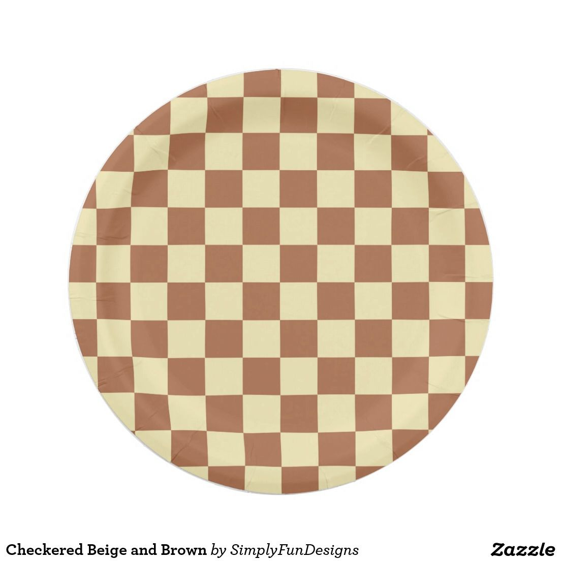 Checkered Beige and Brown Paper Plate   Brown, Brown paper and Paper