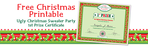 Free Christmas Printable Ugly Christmas Sweater Party Certificate