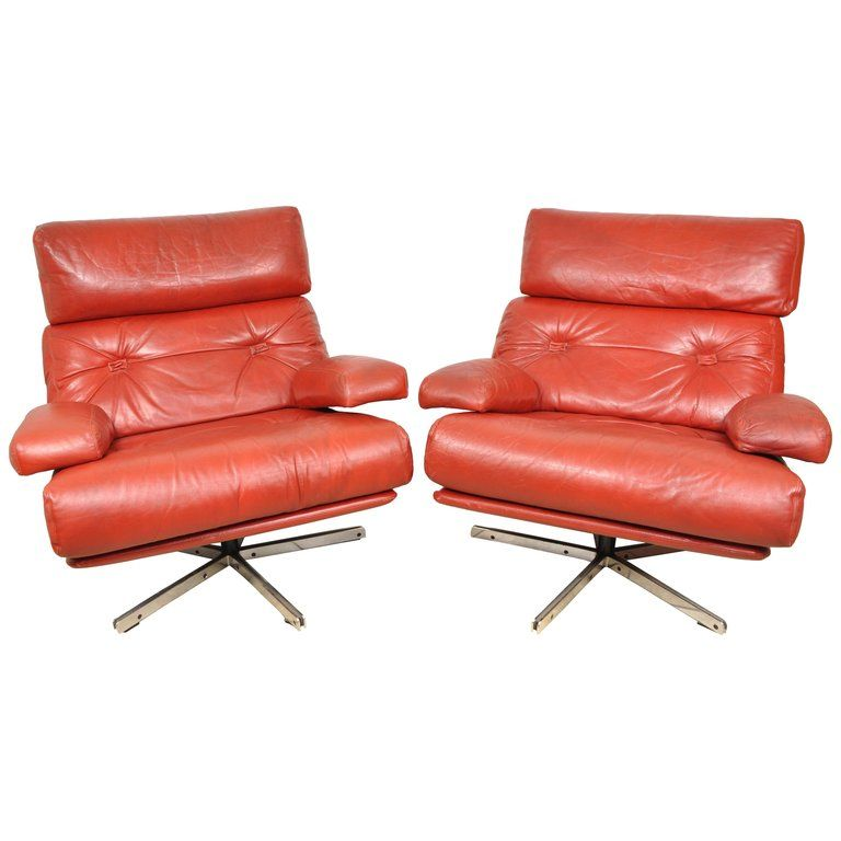 Stupendous Pair Of Mid Century Modern Retro Chairs Red Leather And Squirreltailoven Fun Painted Chair Ideas Images Squirreltailovenorg