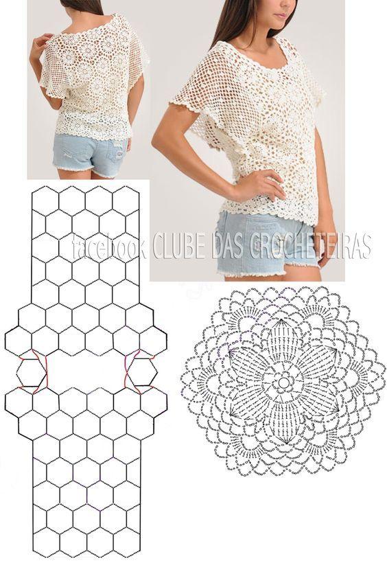 Blusa de crochê com motivos hexagonais Read More at: drix34.blogspot.com: