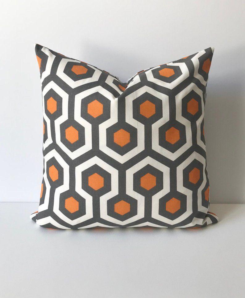 Orange Gray And White Geometric Decorative Pillow Cover
