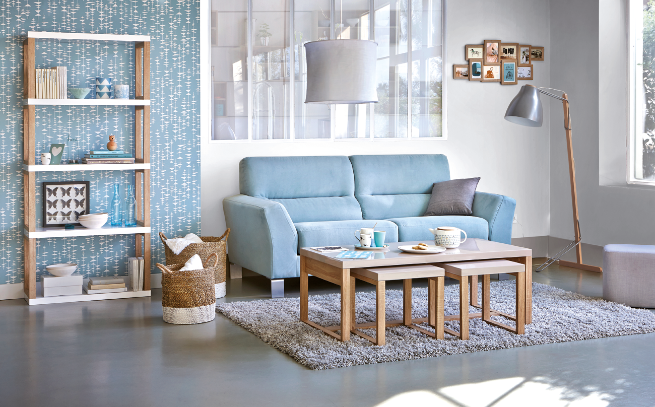 Colorez Votre Vie Et Votre Interieur Avec Le Canape 3 Places Glam En Teinte Bleu Glace But Meuble Petit Canape Decoration Salon