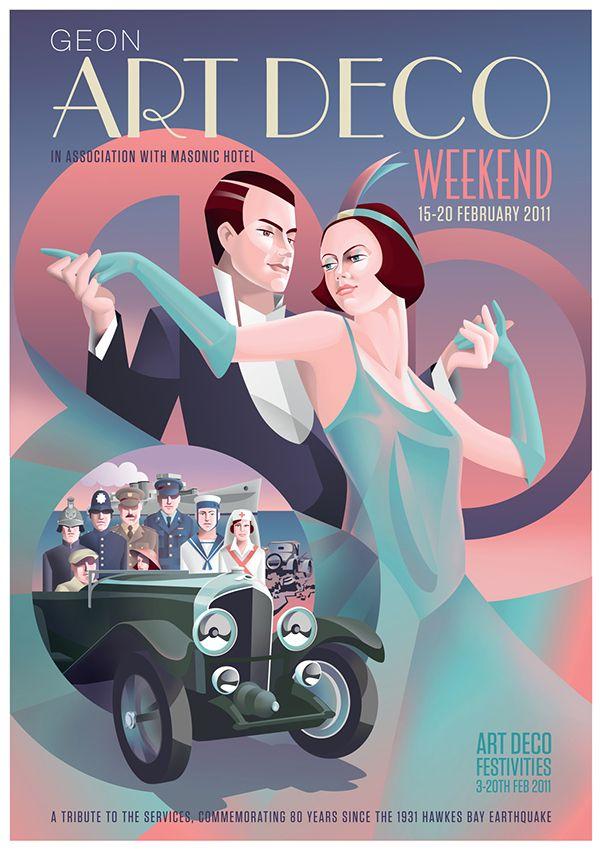 Art Deco Weekend Posters on Behance