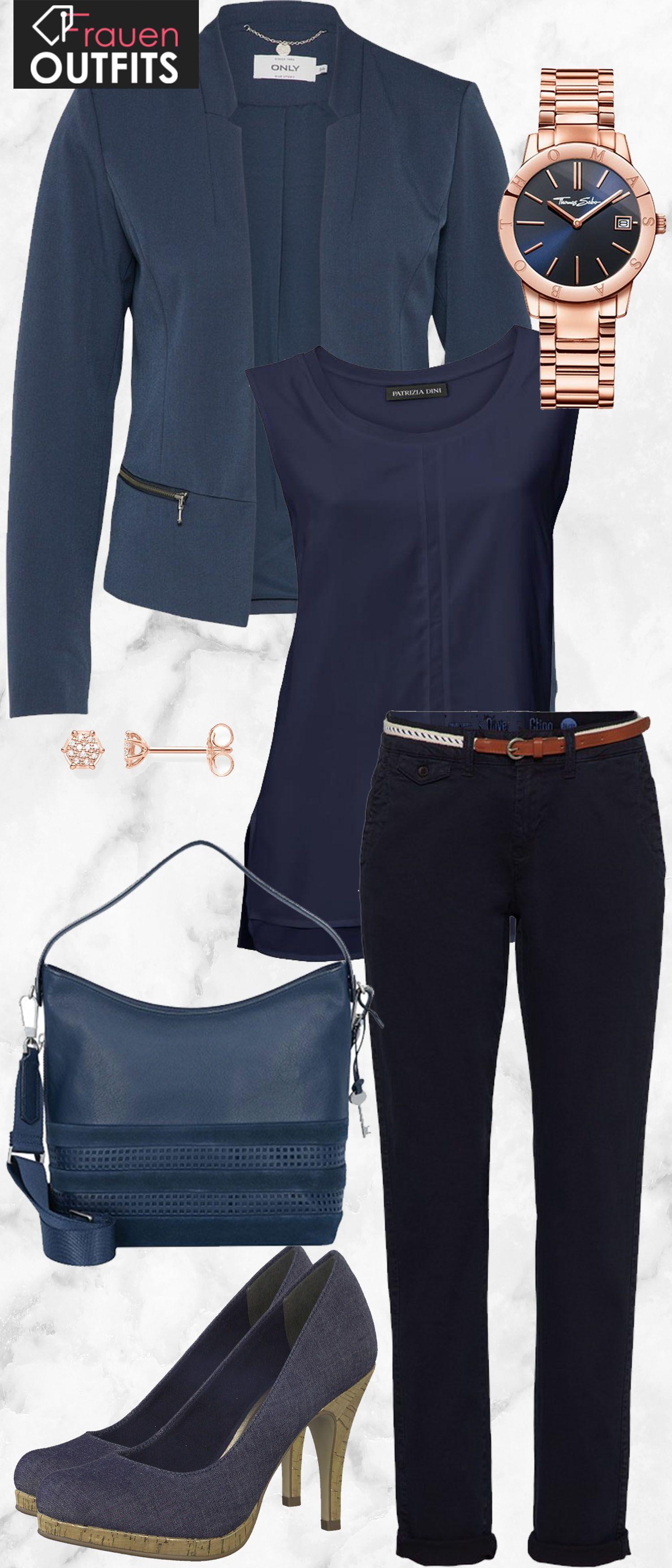 schicker businesslook aus blauem blazer blauer businesshose und blauen pumps tamaris