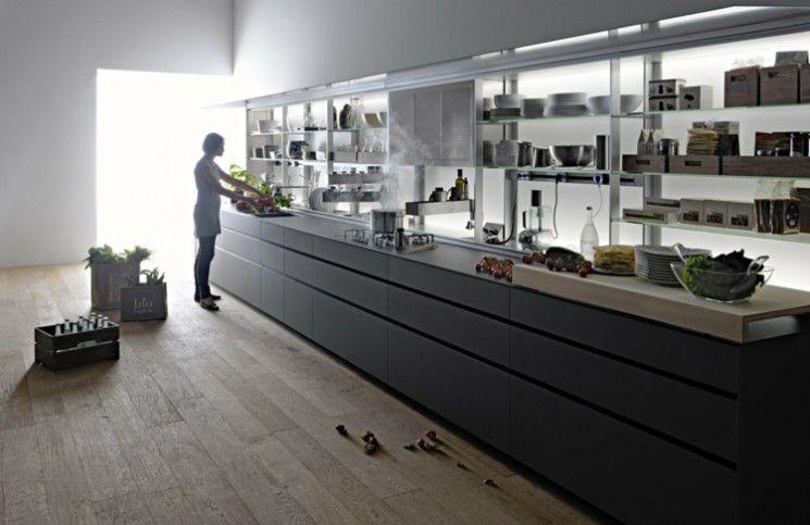 küchenschrank design grau-kueche-modern-stil-regale-offen-lamintat, Kuchen
