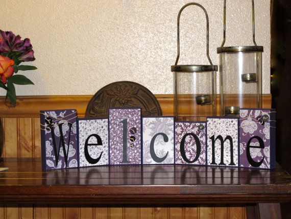 Welcome Blocks Wooden Block Set Boutique by KDragonflyDesigns