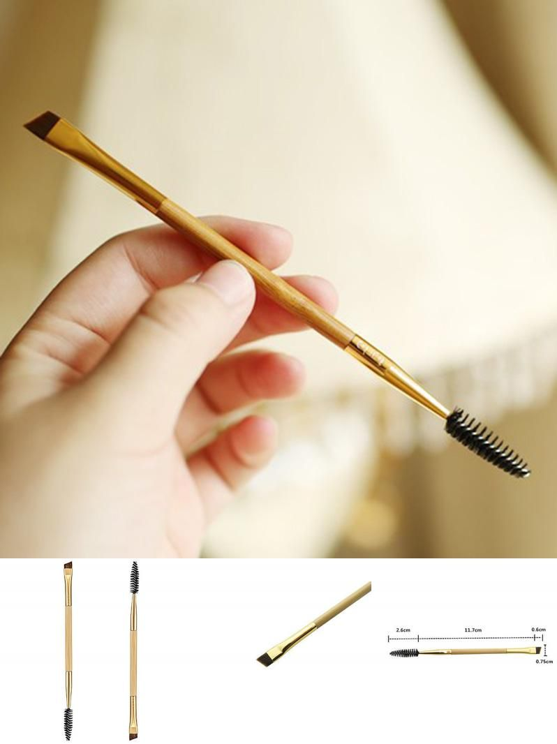 [Visit to Buy] 1PCS Cosmetic Bamboo Handle Eyebrow Brush+ Eyebrow Comb Makeup Brushes Beauty High Quality Hot Sale #Advertisement
