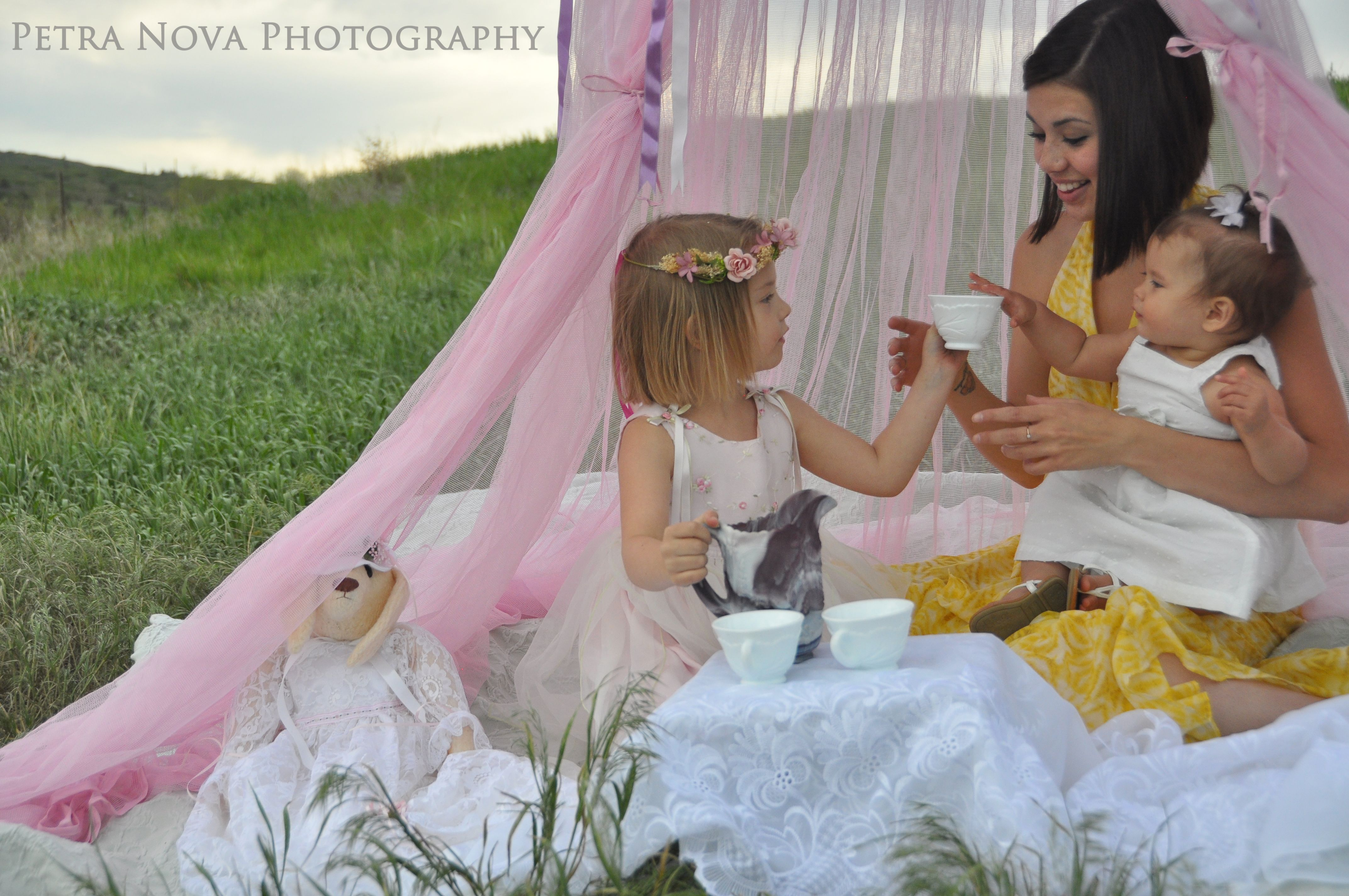 tea party under canopy