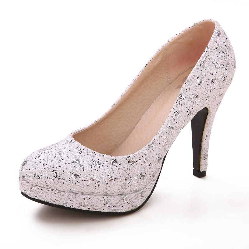 Bridal Wedding Shoes Silver Satin Leather Lady Prom High Heeled Drop Shipping DY239