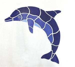 "ceramic dolphin large mosaic 34""x23""   stone mosaic art"