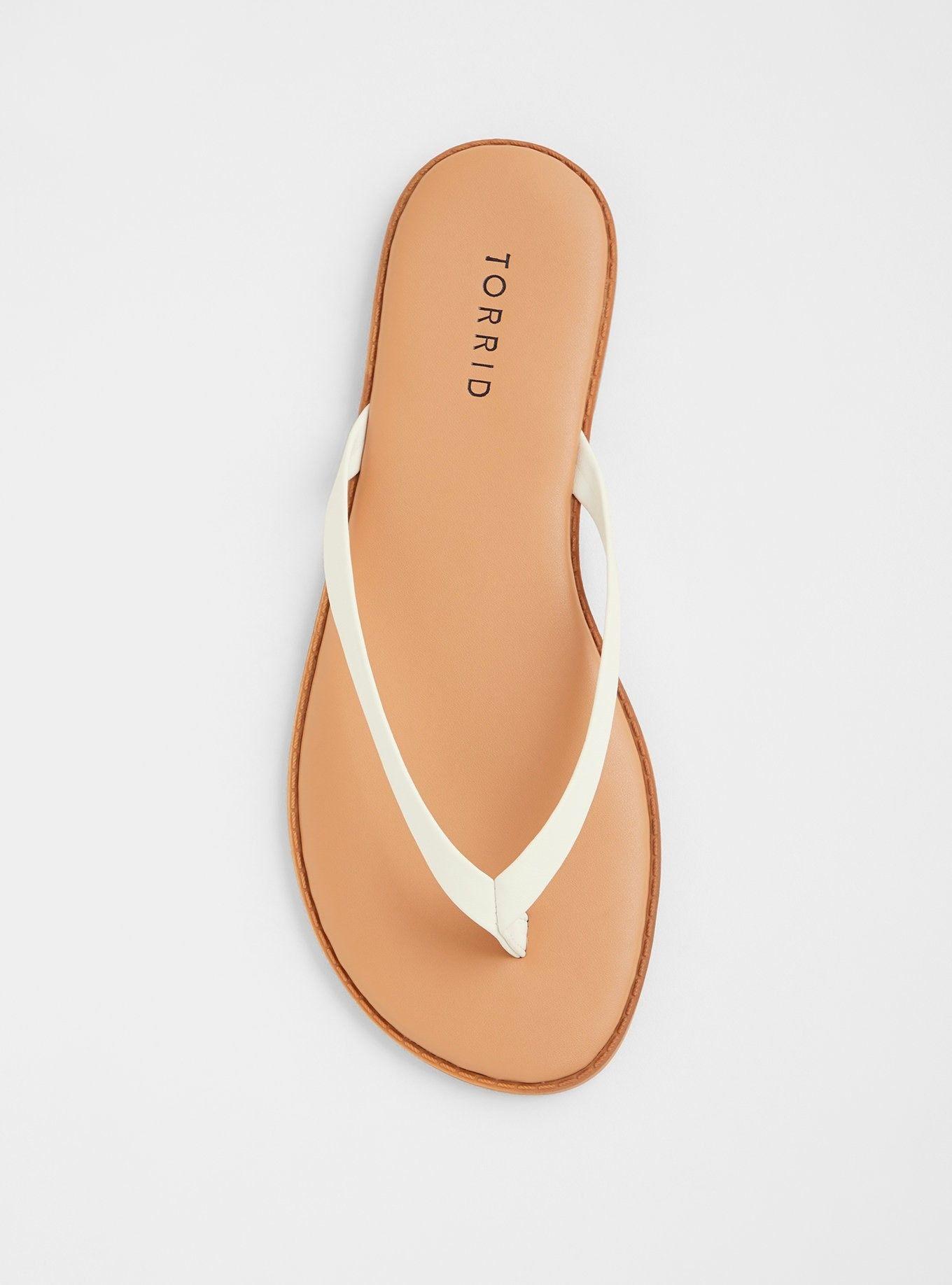 White Faux Leather Flip Flop Sandal