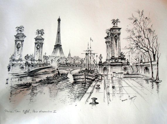 Vintage Paris Print, Eiffel Tower, French Artist, Black & White, Wall Art, Tour Eiffel, Pont Alexandre on Etsy, $25.00