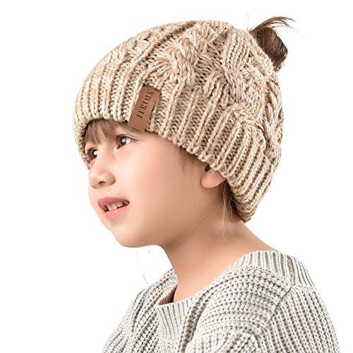 Winter Hats For Girls Ponytail Beanie Hat Kids Toddler Girl Knit Cap Messy Bun, Age 3-12 Year... #kidsmessyhats