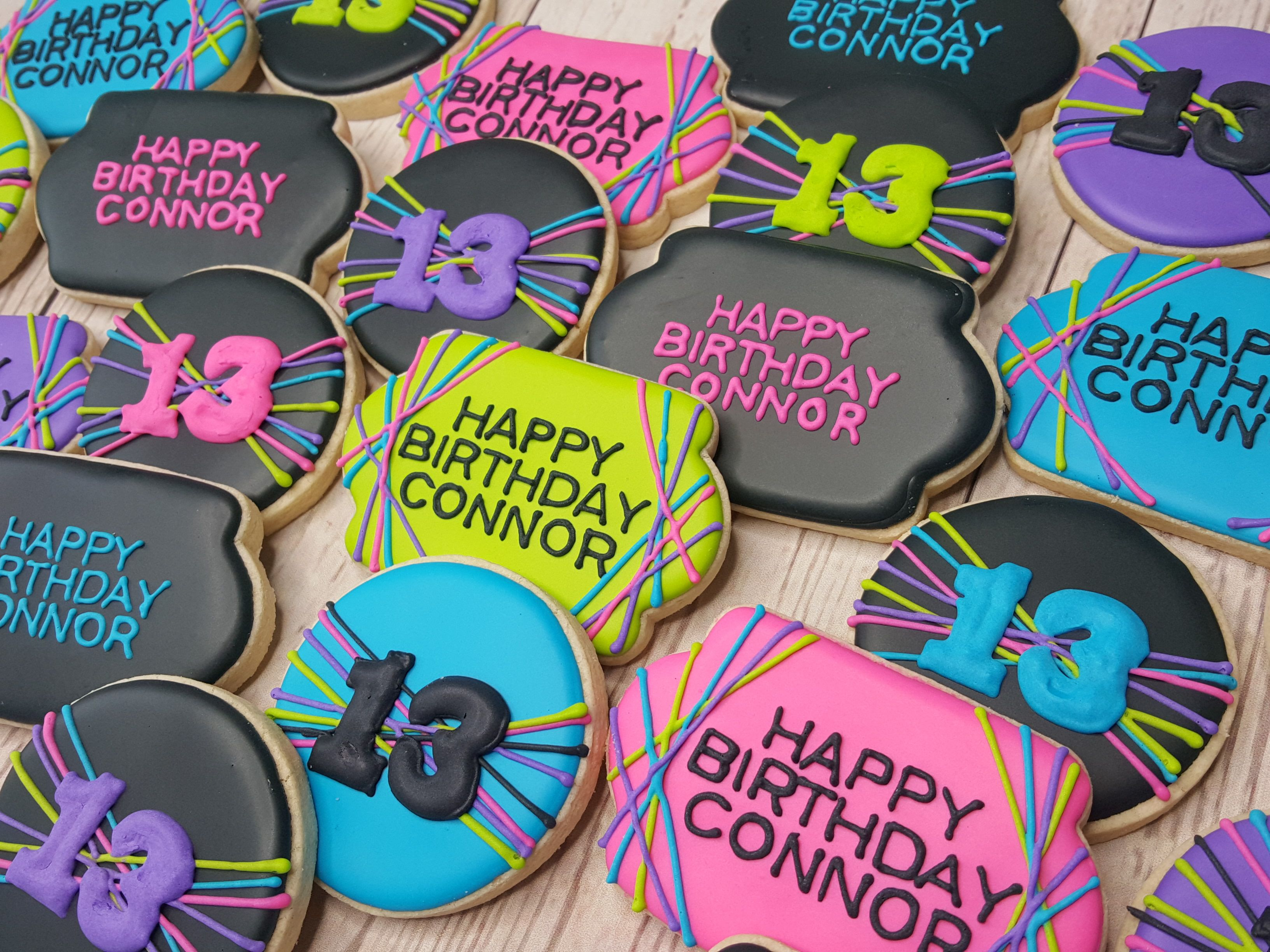 Pleasing Neon Themed Birthday Party Neon Themed Sugar Cookies Neon Personalised Birthday Cards Petedlily Jamesorg