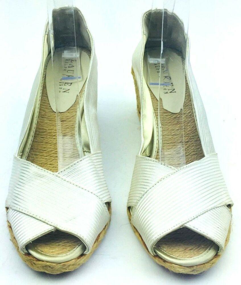 d3a3c525c9d Ralph Lauren Women Shoe Wedge Sandal Canvas Casual Cecilia White Size 8  Open Toe  RalphLauren  Wedges  Casual