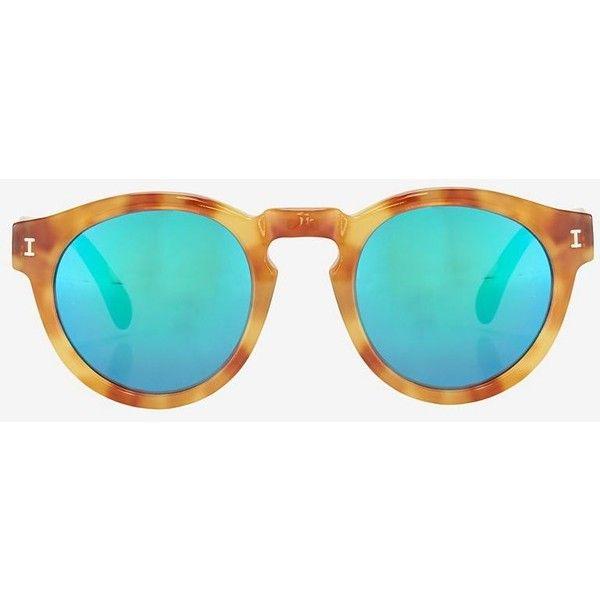Óculos · Illesteva Leonard Mirrored Lense Sunglasses  Amber Green ( 99) ❤  liked on Polyvore 01ea86c219