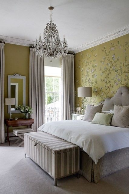 One Wall Of A Luxurious Wallpaper Colour Match The Other Three To Its Background Colour Here In The Main Bedroom Of A Chelsea Family Home Designed By