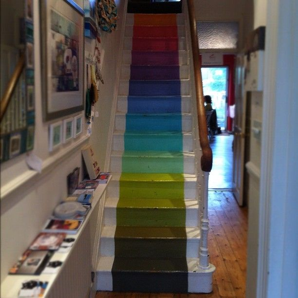 21 Attractive Painted Stairs Ideas Pictures: I Really Love This Idea, Might Try To Graduate The Color