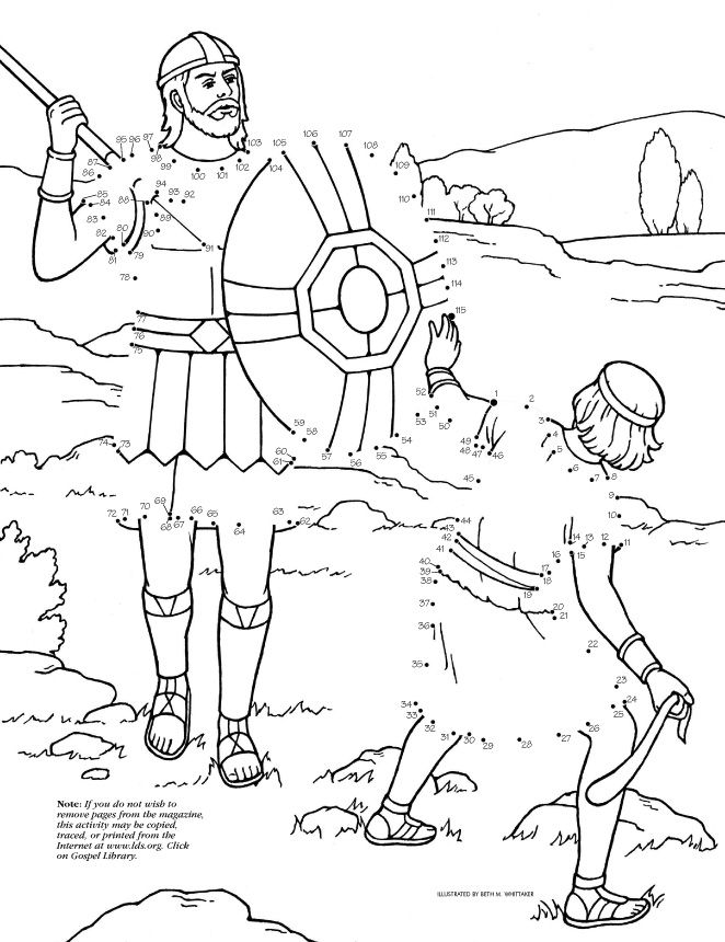 dot to dot David Goliath | Christian Coloring sheets | Pinterest ...