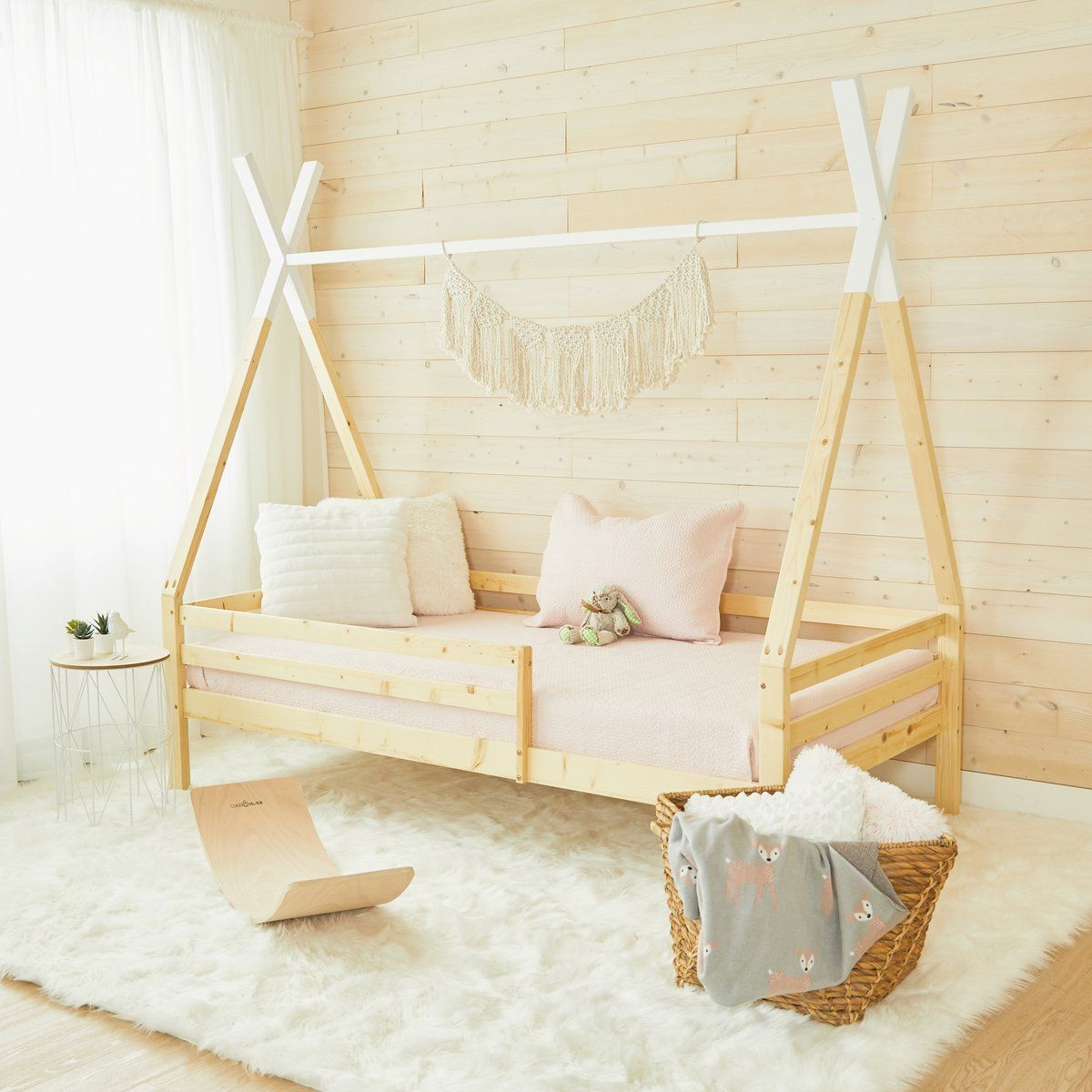 Teepee Bed With Rails WHITE TOP Full Size (preorder