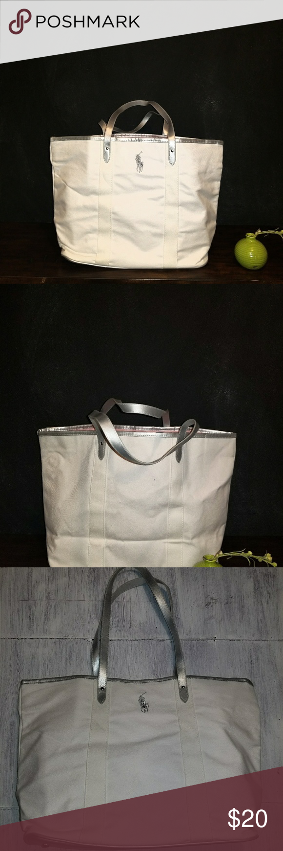 Ralph Lauren Polo Leather Canvas Tote White
