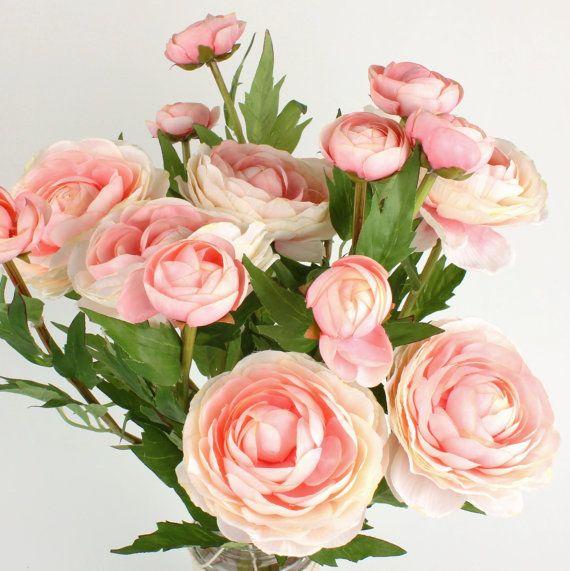 Silk Flower  Pink Ranunculus  Artifical by WildFlowerGathering
