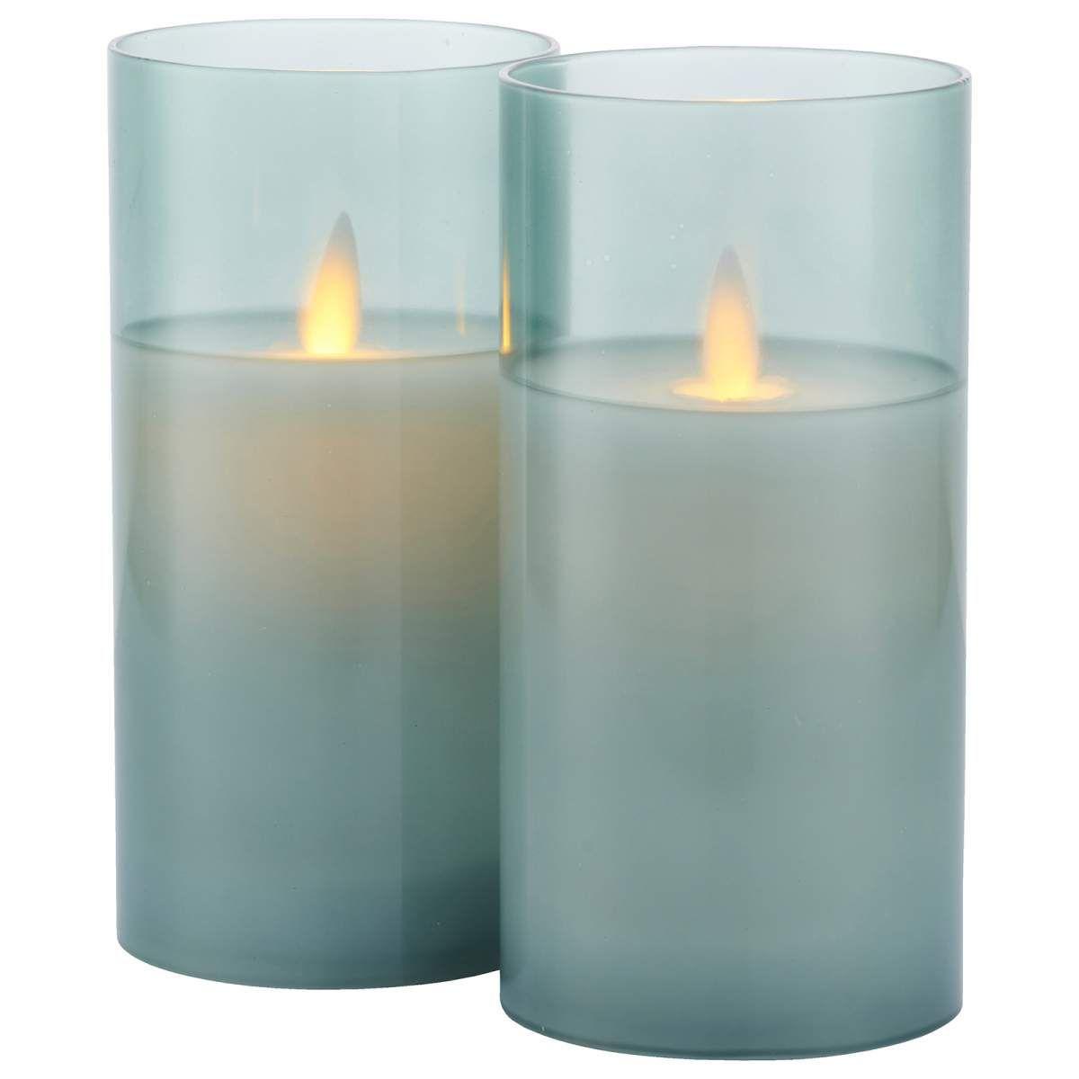 Led Kerze Ivy Im 2er Set Batteriebetrieben Blau Led Kerzen