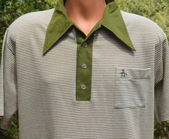 12f51eba8 vintage 60s polo golf shirt PENGUIN grand slam stripe munsingwear Large  Medium 70s green white by skippyhaha