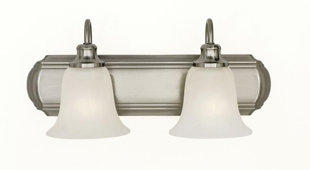 Two Light Brushed Steel White Alabaster Glass Vanity : VS10702-BS   Connecticut Lighting Centers
