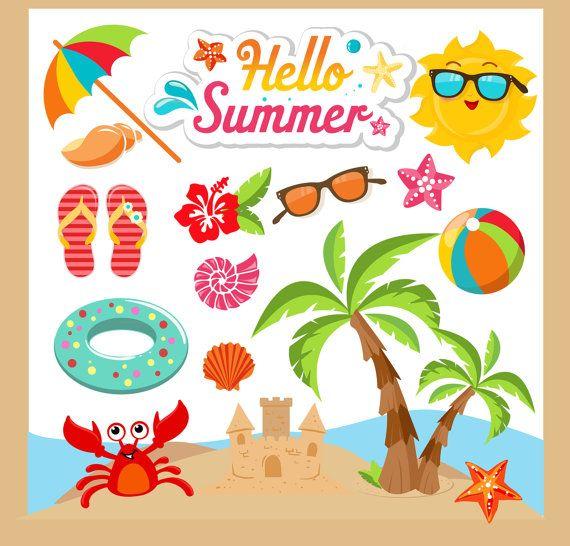 Summer Clipart Summer Clip Art Beach Clipart Beach Clip Art Summer Vacation Clipart Eps And Png Files Included Summ Beach Clips Beach Clipart Clip Art