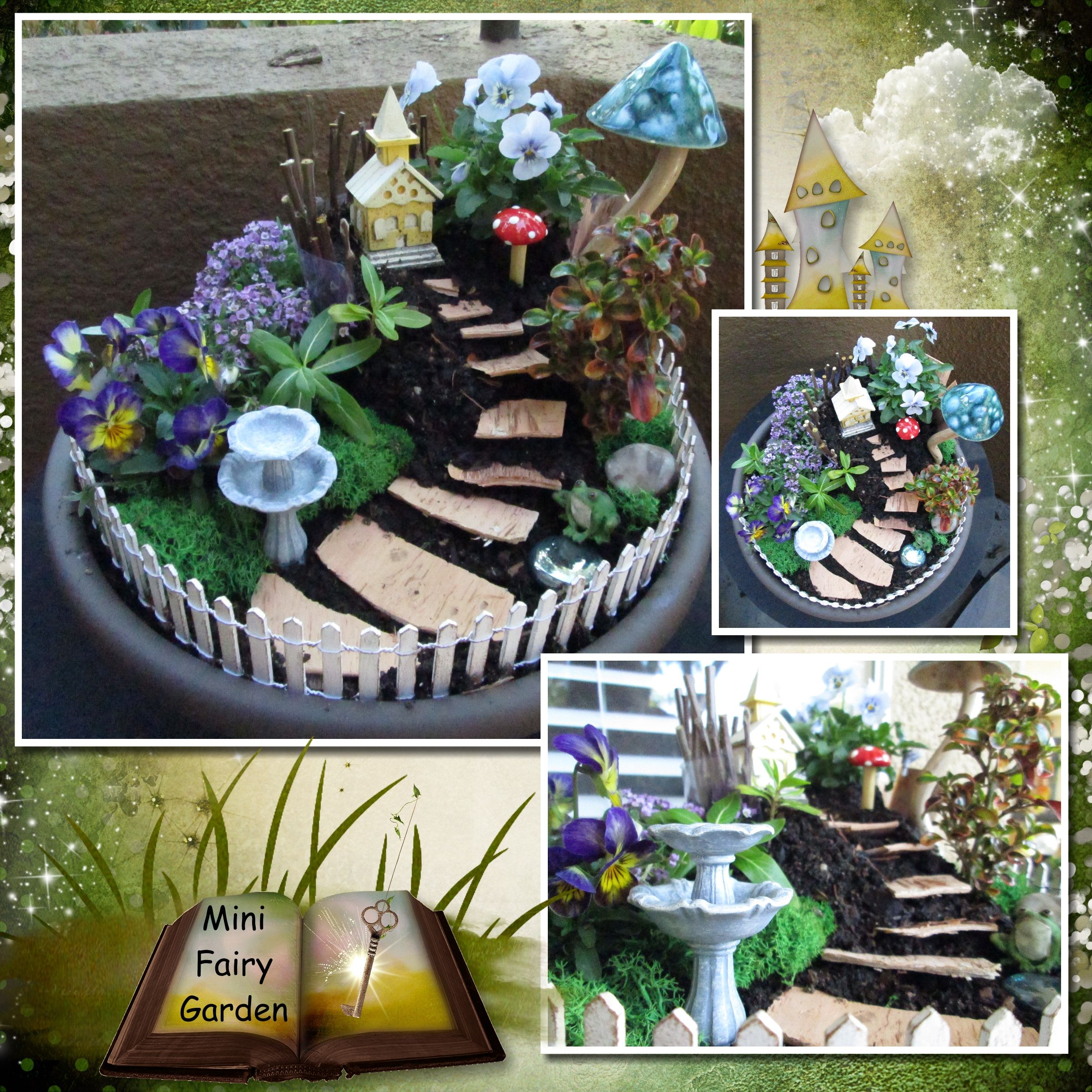 Potted mini fairy garden with mushrooms, fountain and bark steps. Easy to make!