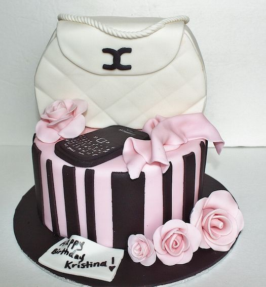 Pink Blue White Purse And Cell Phone And Roses Cake! See