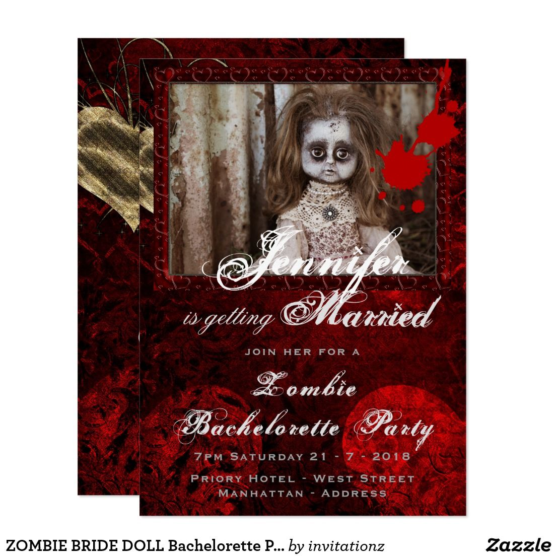 ZOMBIE BRIDE DOLL Bachelorette Party Halloween Invitation | Trending ...